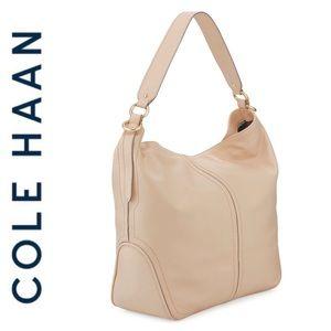 NWT Cole Haan genuine leather bucket hobo nude